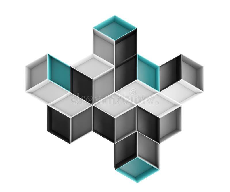 3d在白色背景隔绝的抽象五颜六色的菱形构成 库存例证