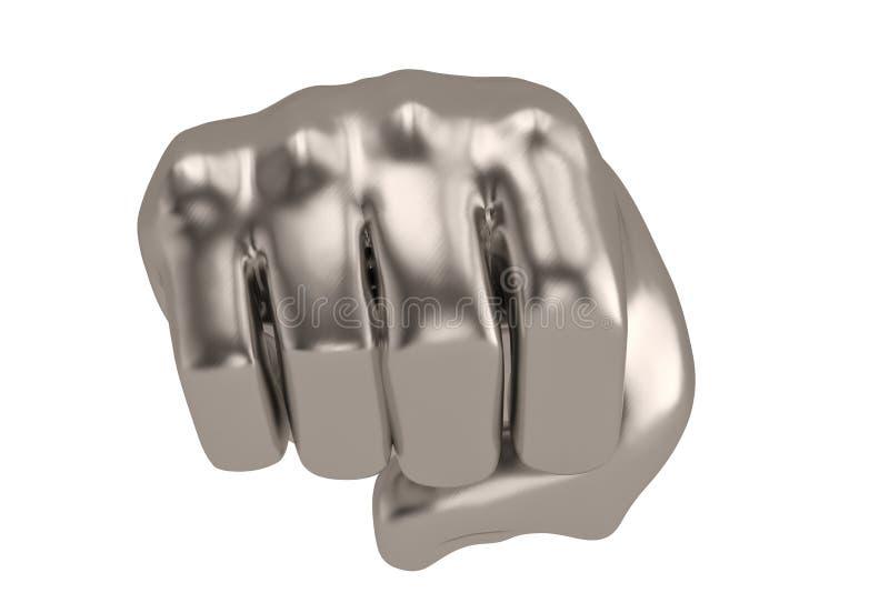 3D在白色背景3D例证隔绝的猛击的拳头 向量例证
