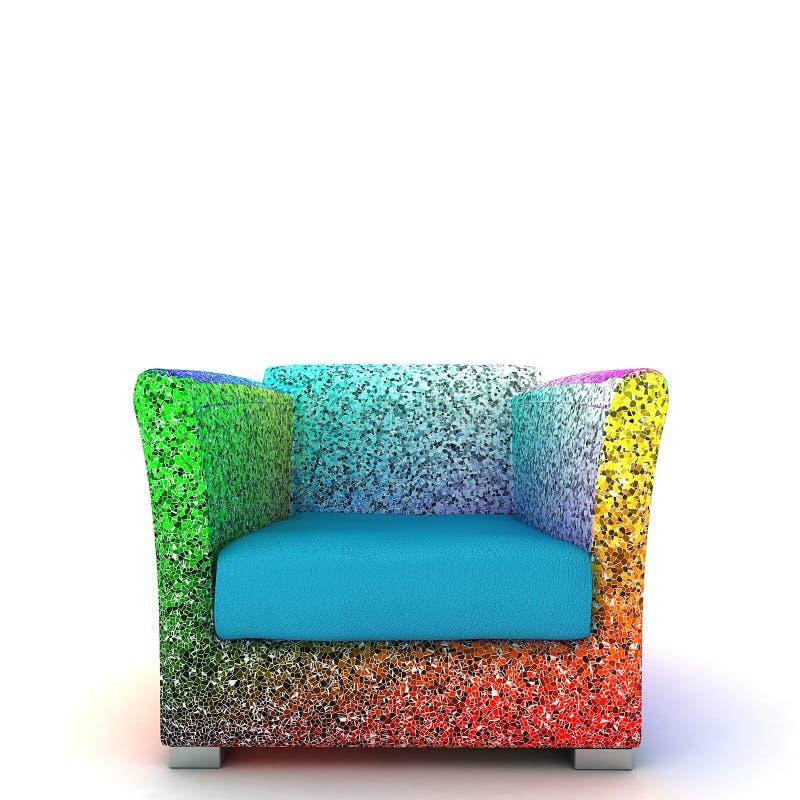 3D在白色隔绝的五颜六色的现代扶手椅子的例证 向量例证