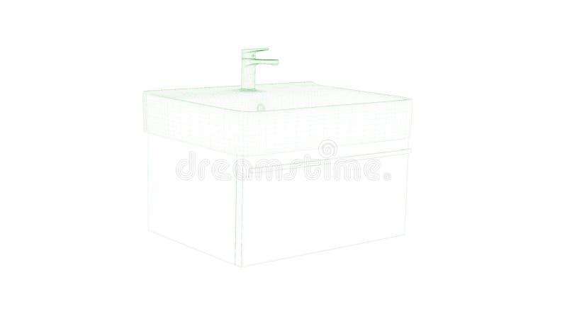 3d在白色隔绝的图纸水管的翻译 库存例证