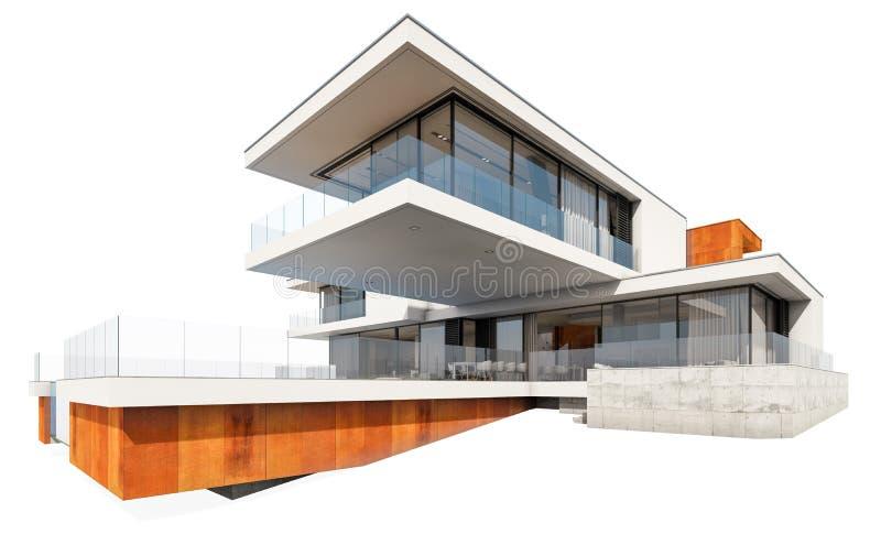 3d在白色隔绝的现代房子翻译 免版税库存图片
