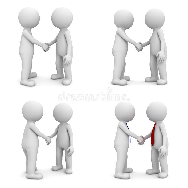 3d在白色隔绝的人握手的汇集 皇族释放例证