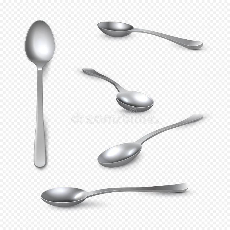 现实金属匙子 3D在白色,不锈钢发光的大汤匙隔绝的银色茶匙 传染媒介等量套  皇族释放例证