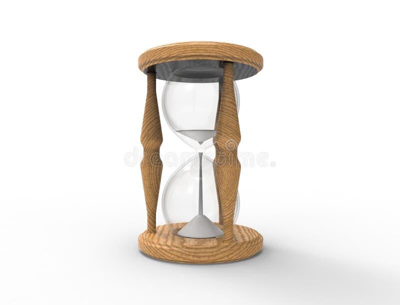 3D在白色bacgkround隔绝的1小时玻璃的翻译 库存例证
