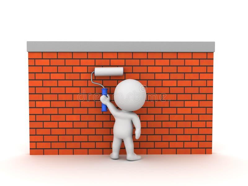 3D在砖墙的字符绘画 库存例证