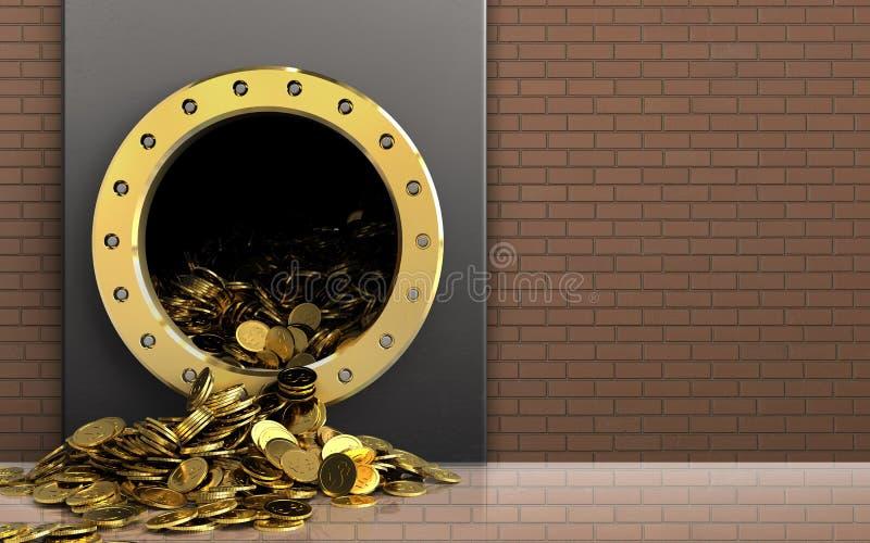 3d在砖墙的金黄硬币 库存照片