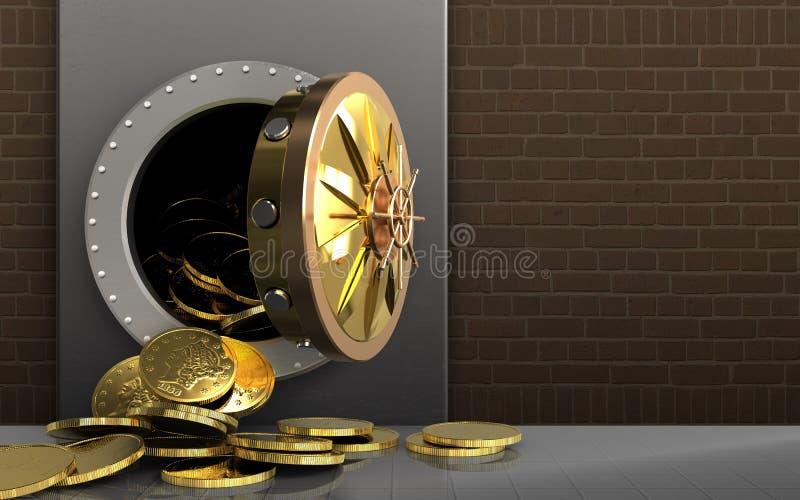 3d在砖的硬币 向量例证