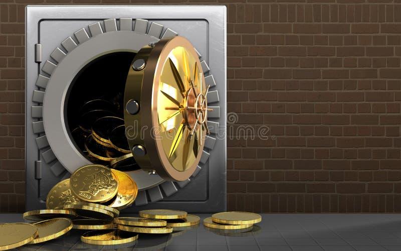 3d在砖的硬币 皇族释放例证