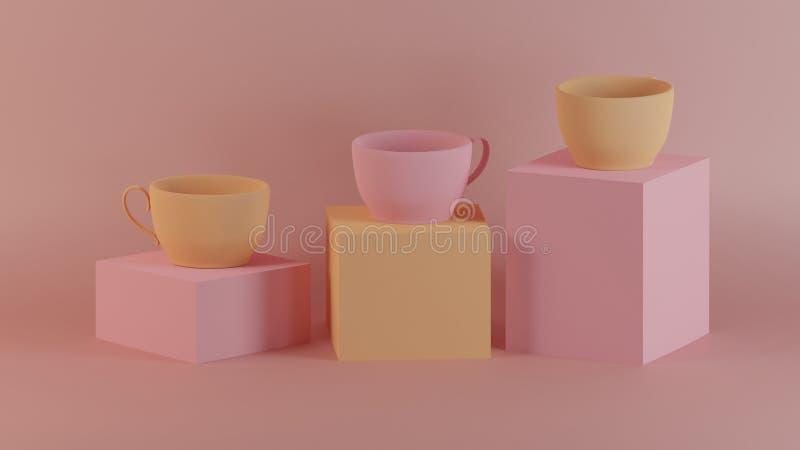 3d在立方体箱子背景回报桃红色咖啡杯现代美术为装饰 向量例证