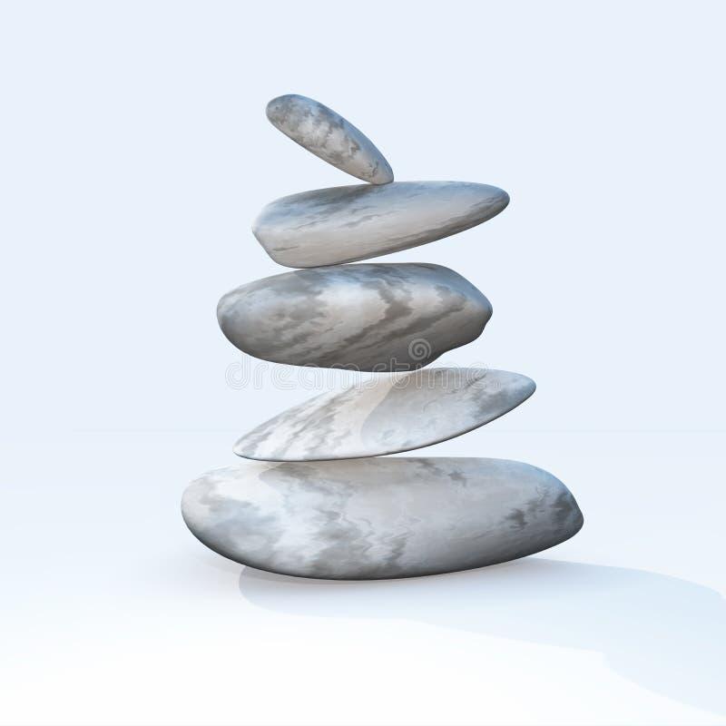 3D在简单的背景的平衡的小卵石 库存例证