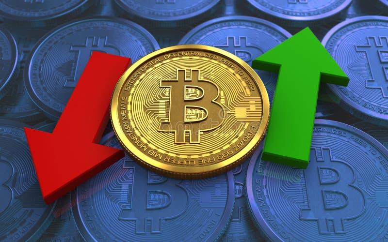 3d在箭头上下的bitcoin 皇族释放例证