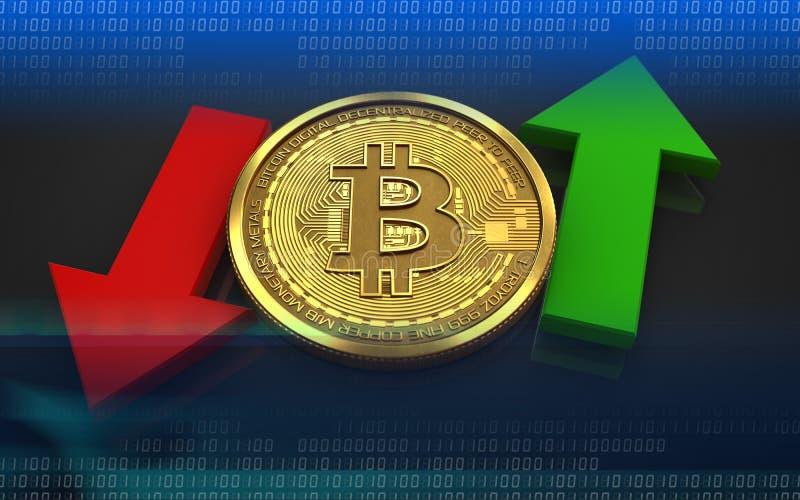 3d在箭头上下的bitcoin 向量例证