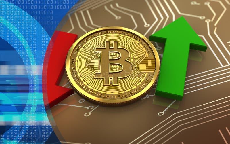 3d在箭头上下的bitcoin 库存例证