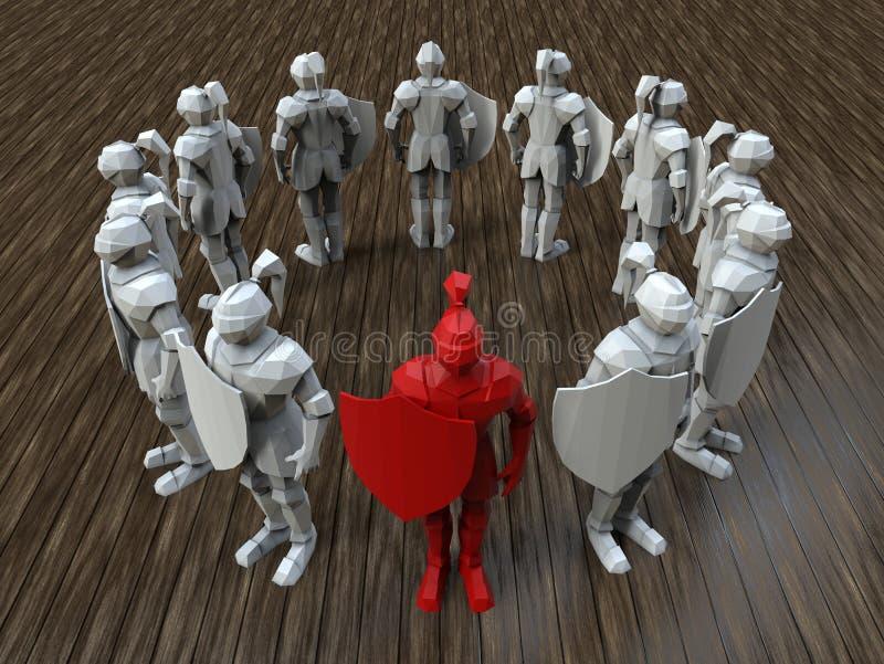 3D在红色使-骑士领导被突出 库存例证