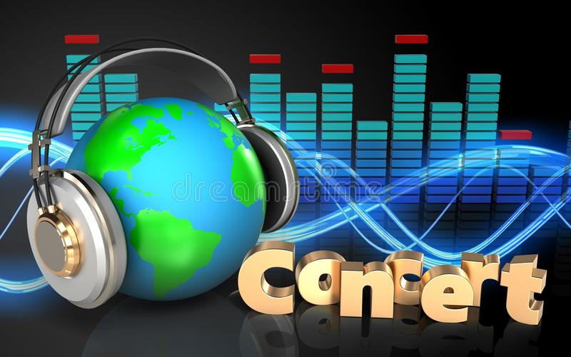 3d在耳机地球的地球在耳机 向量例证
