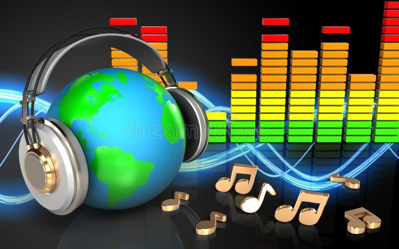 3d在耳机地球的地球在耳机 库存例证
