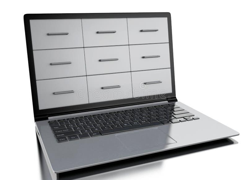 3d在膝上型计算机的文件柜 库存例证