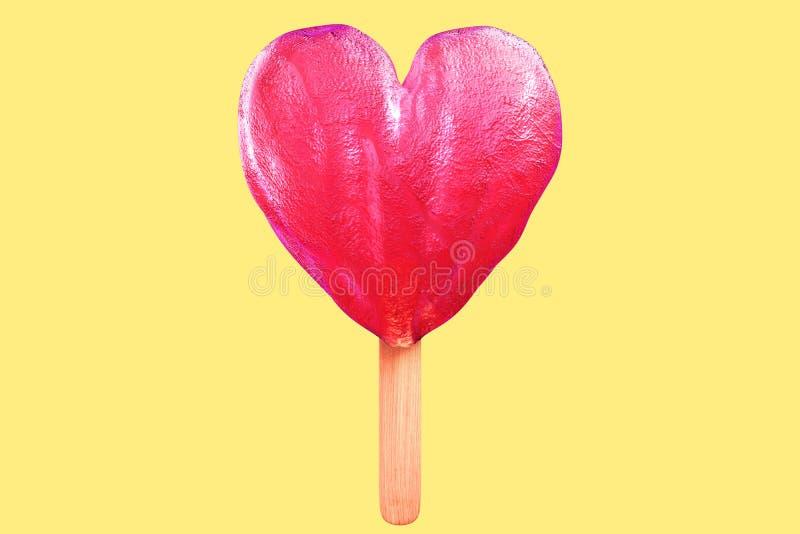 3d在苍白yel隔绝的桃红色心形的冰棍儿翻译  向量例证