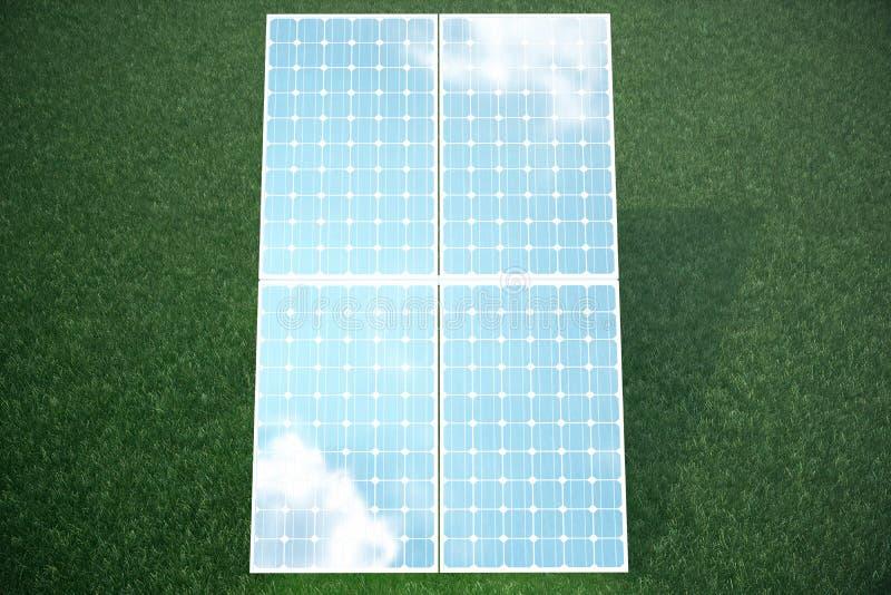 3D在草的例证太阳电池板 太阳电池板由星期日导致绿色,不伤环境的能源 概念 库存例证