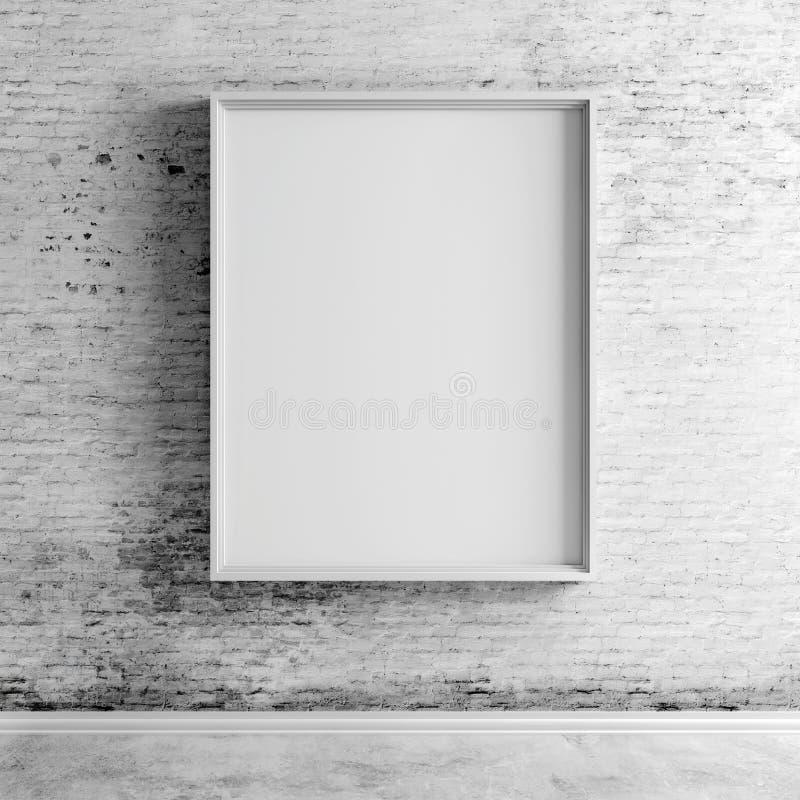 3d在葡萄酒砖墙上的空白板 皇族释放例证