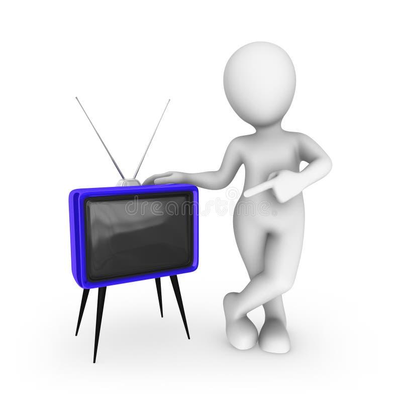 3d在蓝色减速火箭的电视的白人pionting的手指 皇族释放例证
