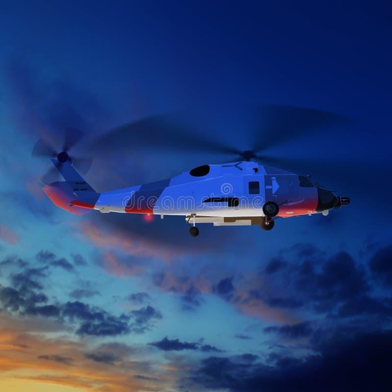 3d在蓝色日落天空的海岸警卫直升机的例证 库存例证