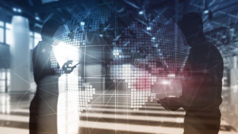 3D在被弄脏的背景的地球全息图 全球企业和通信概念 向量例证