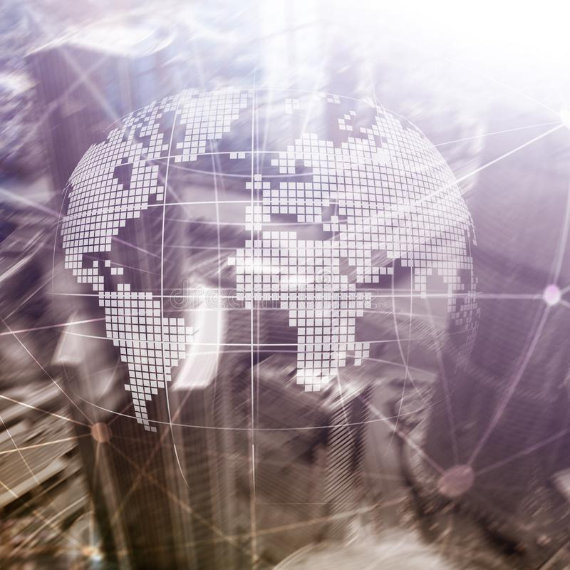 3D在被弄脏的背景的地球全息图 全球企业和通信概念 免版税库存图片