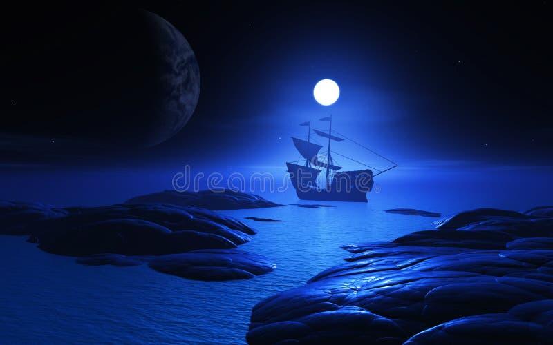3D在被月光照亮水的船 皇族释放例证