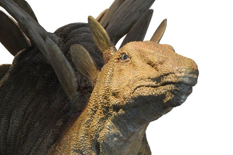 3d在路径的剪报恐龙使影子剑龙空白 免版税库存图片