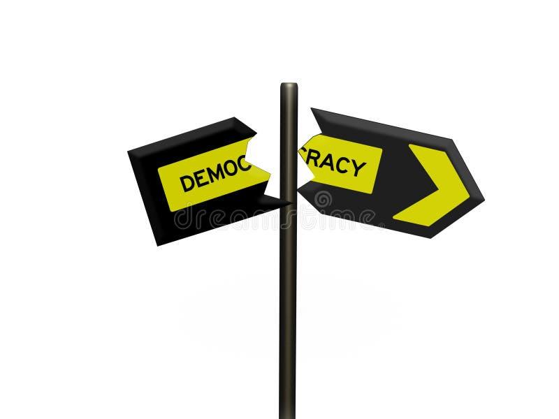 3d在路标和白色背景的标志 库存例证