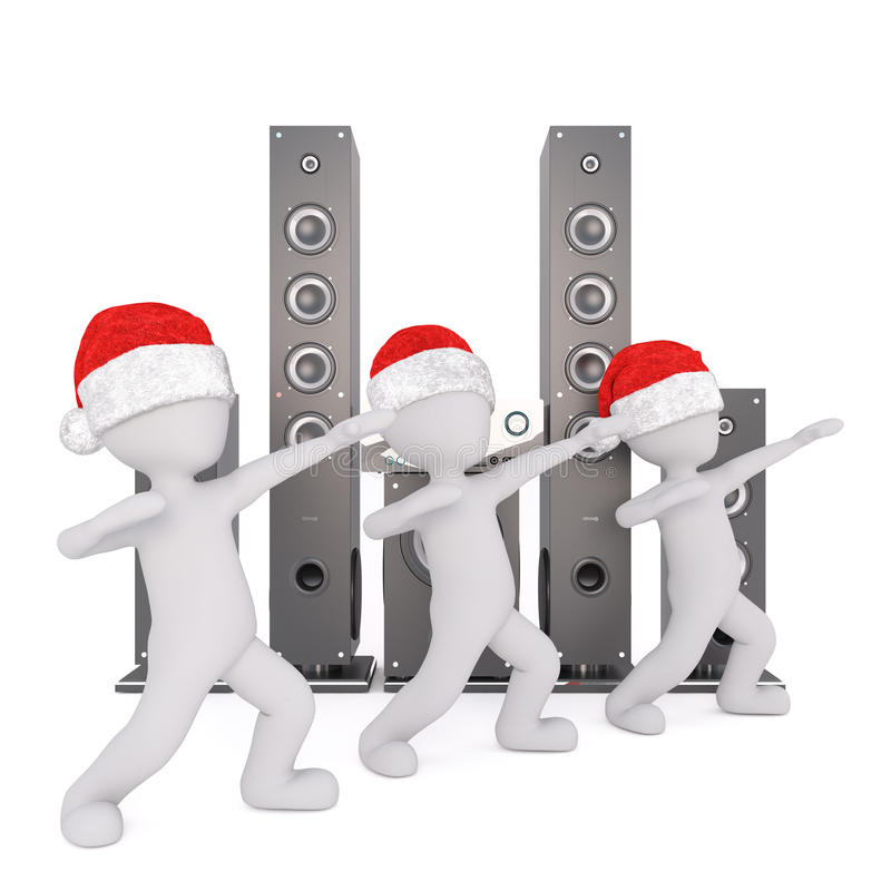 3d在跳舞由迪斯科spreakers的圣诞老人帽子的toons 皇族释放例证