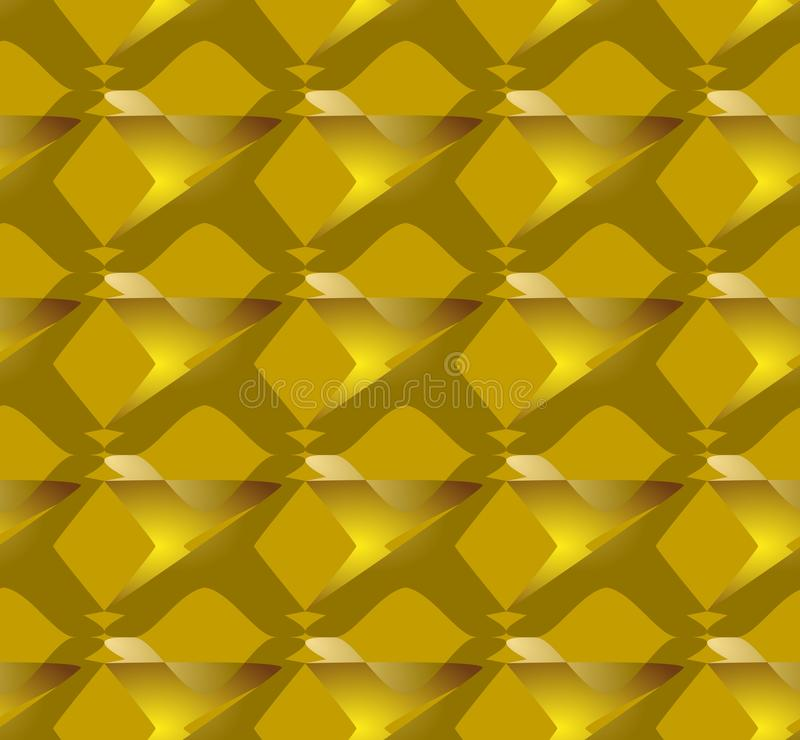 3d在金背景,无缝的瓦片的金样式 现代装饰品,豪华金黄抽象形状 库存图片