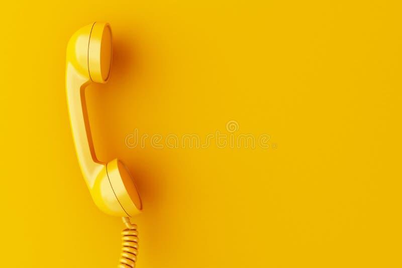 3d在黄色背景的电话接收器 向量例证