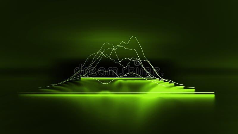 3D在黑暗的背景的绿色现代折线图图表事务 皇族释放例证