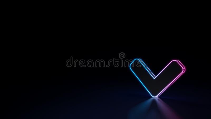 3d在黑背景下来隔绝的角度的标志的发光的霓虹标志 皇族释放例证