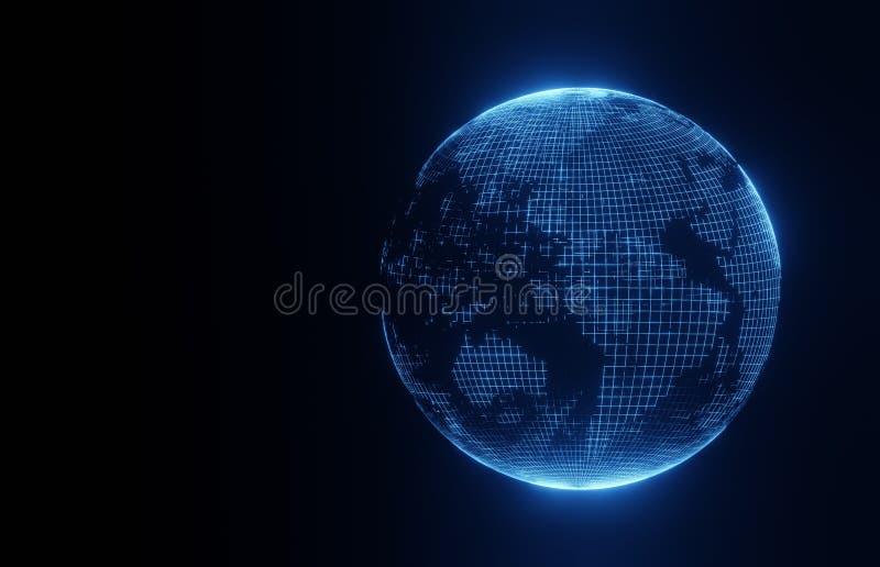 3D在黑背景的行星地球 库存例证