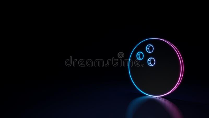 3d在黑背景隔绝的保龄球的标志的发光的霓虹标志 向量例证
