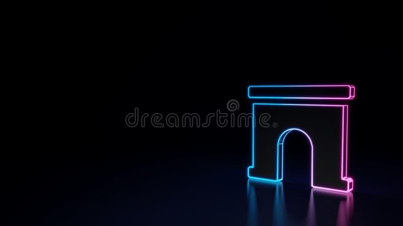3d在黑背景隔绝的拱道的标志的发光的霓虹标志 皇族释放例证