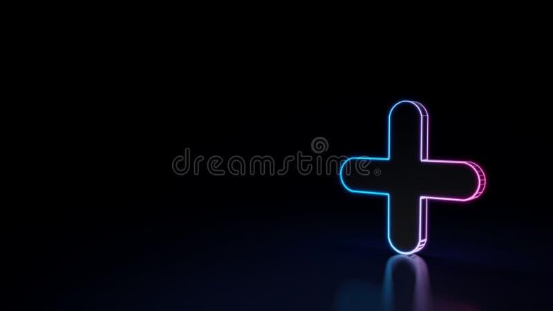 3d在黑背景隔绝的正标志的发光的霓虹标志 库存例证