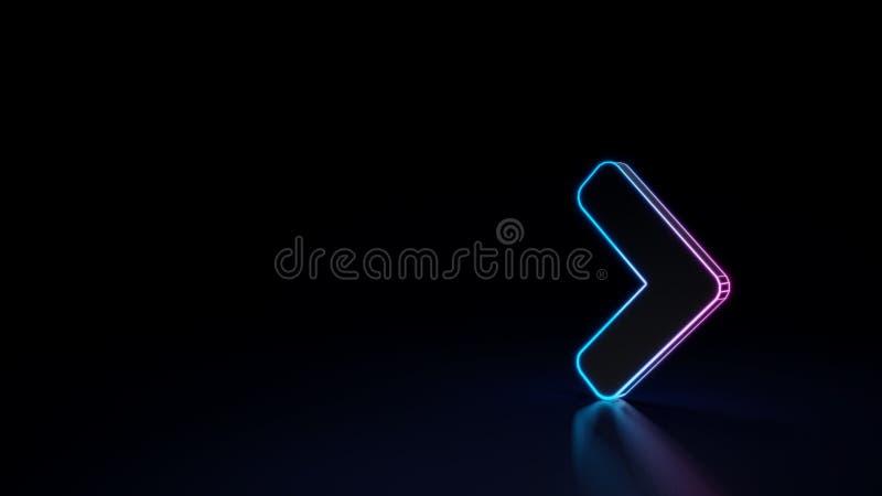 3d在黑背景隔绝的角度权利的标志的发光的霓虹标志 向量例证