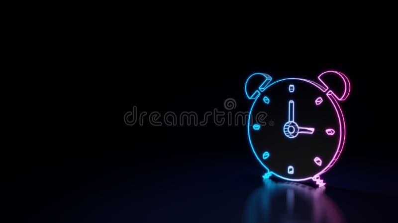 3d在黑背景隔绝的闹钟的标志的发光的霓虹标志 库存例证