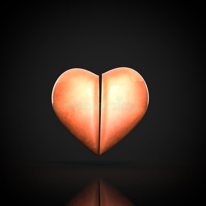 3D在黑背景,从中心的分裂的心脏 库存照片