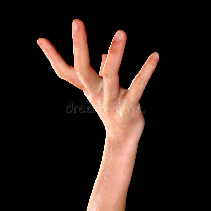 3d在黑色隔绝的回报一只女性手 库存例证