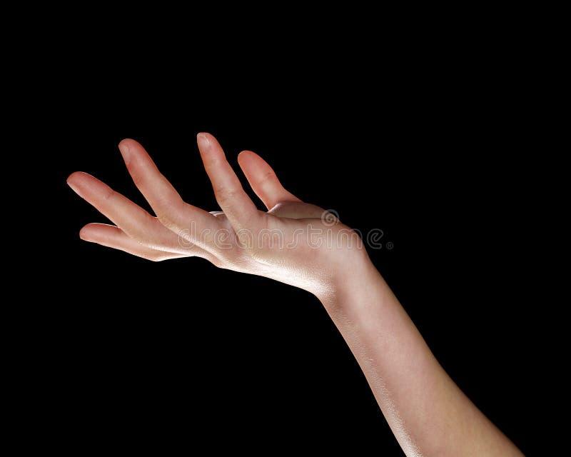3d在黑色隔绝的回报一只女性手 向量例证