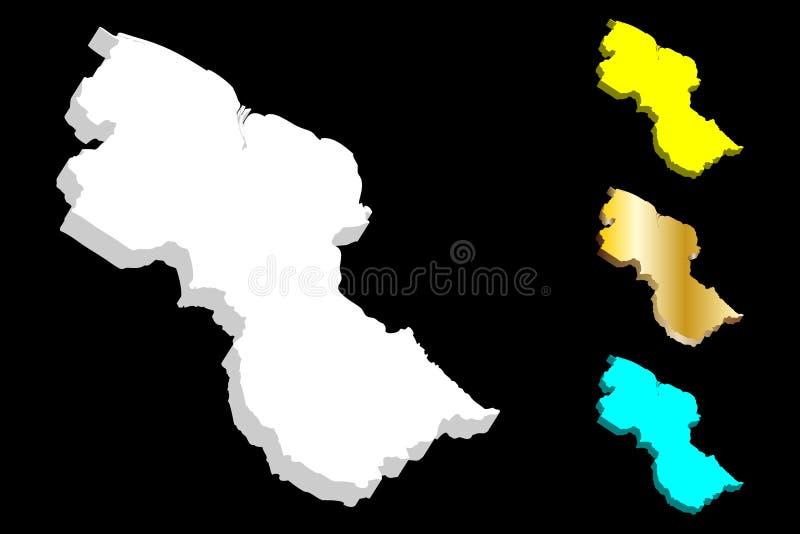3D圭亚那的地图 库存例证