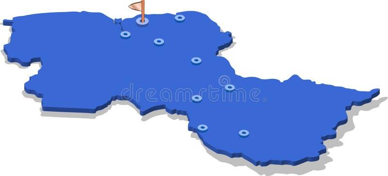 3d圭亚那的等轴测图地图有蓝色表面和城市的 被隔绝的,白色背景 向量例证
