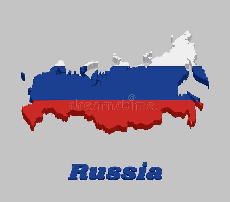 3d地图俄罗斯,它的概述和旗子包括三个相等的水平的领域的一面三色旗子:白色在上面,蓝色在 皇族释放例证