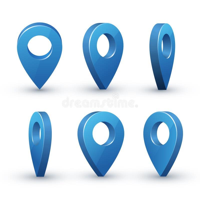 3d地图尖集合 向量例证