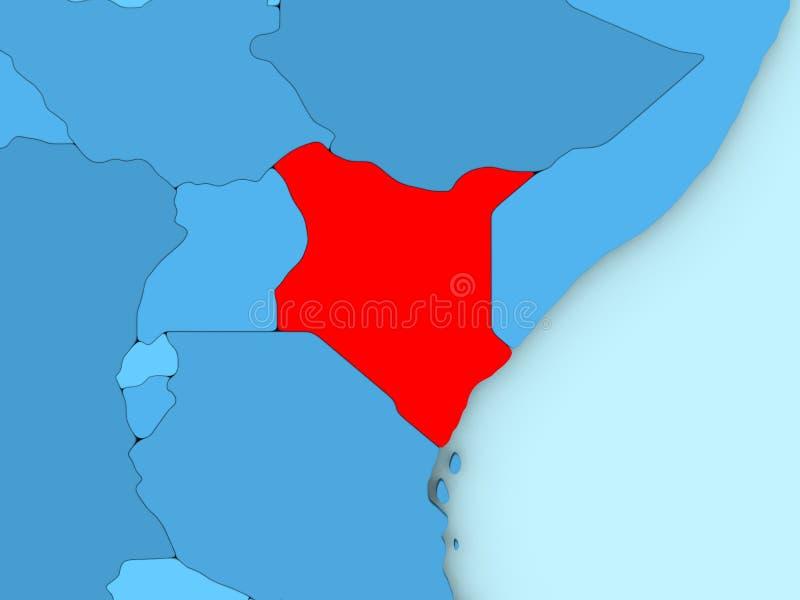 3D地图的肯尼亚 库存例证